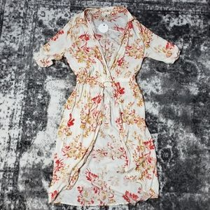 En Creme Tunic Style Cover Up Sheer Floral Print